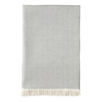 Herringbone Merino woven bed throw, 230 x 150cm, mist & white