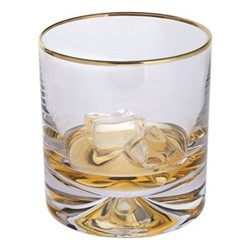 Dimple Pair of double old fashioned glass, H9.6cm - 28.5cl, gold