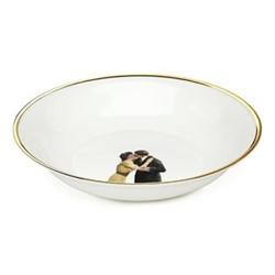 Kissing Couple Bowl, 18.5 x 4cm, crisp white/burnished gold edge