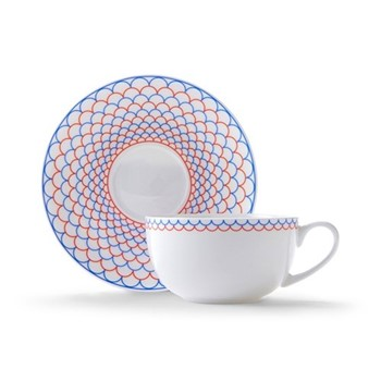 Ripple Cappuccino cup and saucer, H7.5 x D11cm, red/blue
