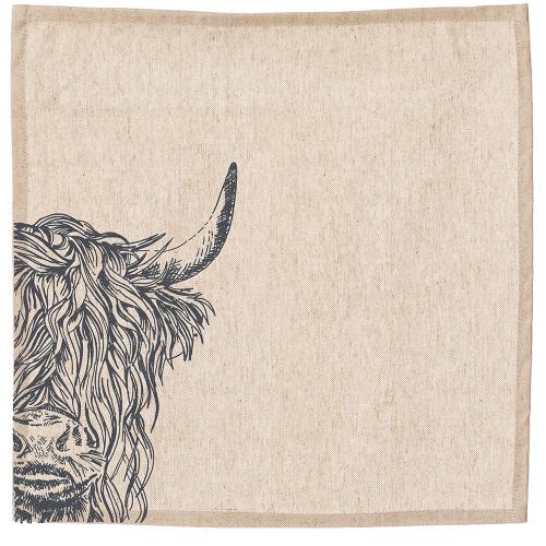 Highland Cow Set of 4 napkins, 40 x 40cm