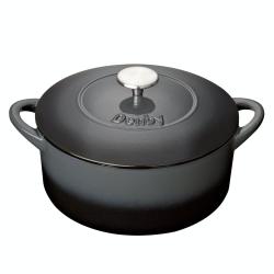 Halo Cast Iron Round casserole dish, D26cm, Black