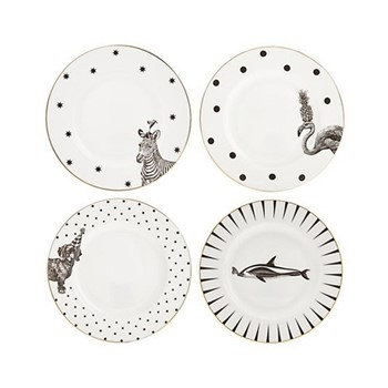 Animal Set of 4 side plates, 16cm