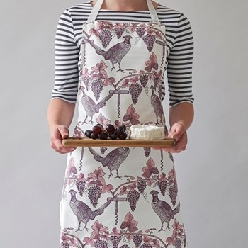 Pheasant & Vine Apron, 60 x 80cm, white/soft pink/dusty purple