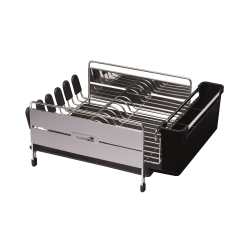 Deluxe stainless steel dish drainer, 44.5 x 34 x 19.5cm