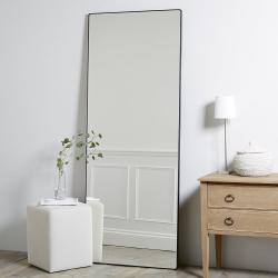 Chiltern Rectangular mirror, H189 x W74 x D2.5cm, Black
