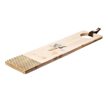 Long sycamore serving board with leather tab L65 x W15 x H2cm