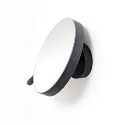 Slimline Magnifying wall mirror, Dia18cm, dark oak