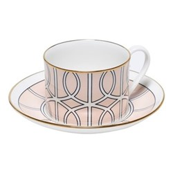 Loop Teacup and saucer, H8.4cm - Saucer 15cm, blush/white (gold rim)