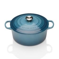 Signature Cast Iron Round casserole, 28 x 11cm - 6.7 litre, marine