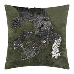 Animal - Crocodile Velvet cushion, 40 x 40cm, green