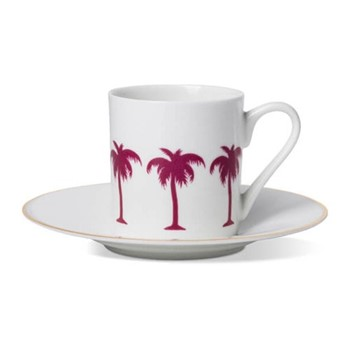Palm Tree Espresso cup and saucer, H6 x D5.5cm cup - 13cm saucer, hand-painted gold rim