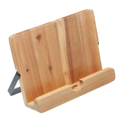 Natural Elements Cookbook/tablet stand, Wood With Black Metal Stand