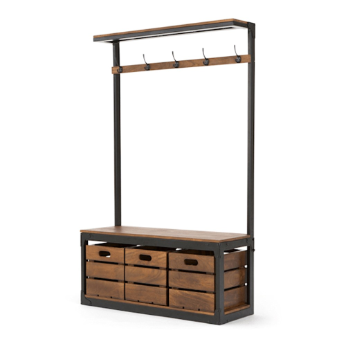 Layne Large hall stand, H180 x W110 x D39cm, Mango Wood/Black