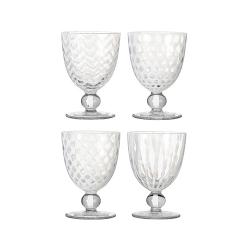 Pulcinella Set of 4 small white wine glasses, H12cm, Clear And White