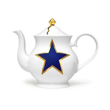Lucky Stars Large teapot, 18 x 22 x 10cm, crisp white & cobalt blue/burnished gold details