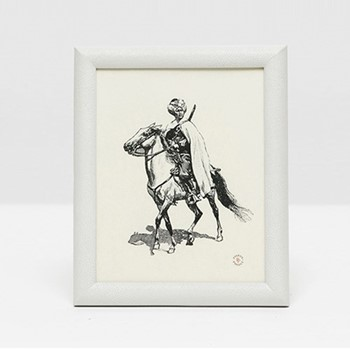 "Oxford Photograph frame, 8 x 10"", white faux shagreen"