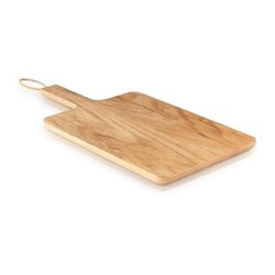 Wooden cutting board, 32 x 24cm, oak/leather