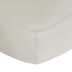 500 Thread Count Cotton Sateen Super king fitted sheet, W180 x L200 x H35cm, Ivory