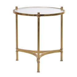 Side table, 45 x 43cm, gold and glass