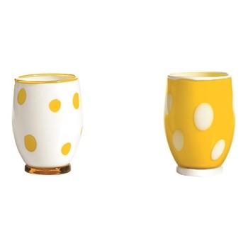 Bon Bon Set of 6 tumblers, 30cl, white/yellow