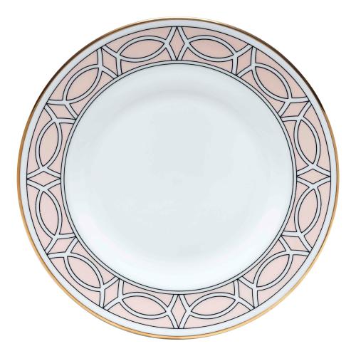 Loop Teaplate, 16.5cm, blush/white (gold rim)