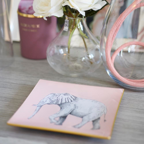 Elephant Square decoupage tray, 15cm, Blush Pink/Gold Edging