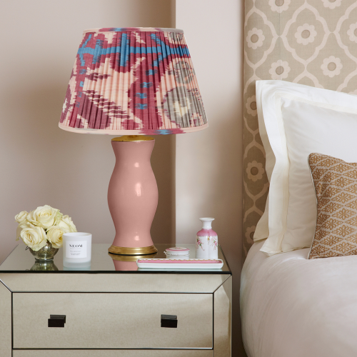 Ikat Lampshade, H55 x W35 x D35cm, Pink And Fuchsia