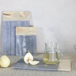 Bwari Long marble board, 2 x 35.5 x 22cm, Grey Marble & Mango Wood