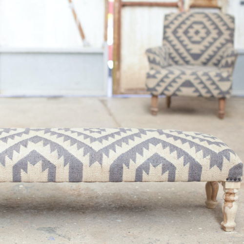 Odum Ottoman, 36 x 125 x 44cm, Blue And Natural