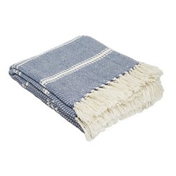 Oxford Stripe Throw, L230 x W130cm, navy