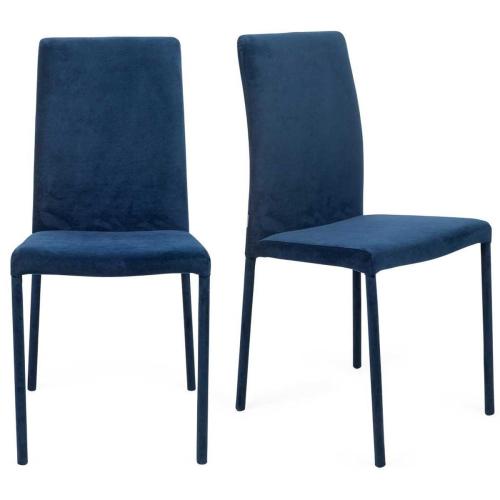Bronte Pair of dining chairs, H93.5 x  W47 x D51.5cm, Indigo