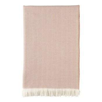 Herringbone Merino woven bed throw, 230 x 150cm, powder & white