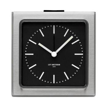 Block Alarm clock, H8.5 x L8.5 x D6cm, steel