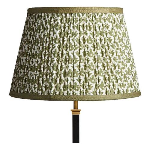 Straight Empire Block printed lampshade, 35cm, Temple Green