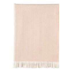 Herringbone Merino woven throw, 190 x 140cm, blush & white