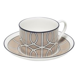 Loop Teacup and saucer, H8.4cm - Saucer 15cm, truffle/white (black rim)
