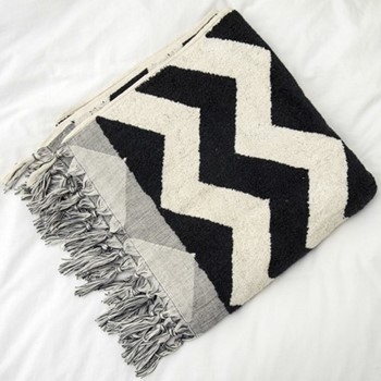 Terry Towel, 80 x 160cm, black & white zig zag
