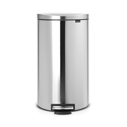 Silent Flatback pedal bin, 30 litre, matt steel fingerprint proof
