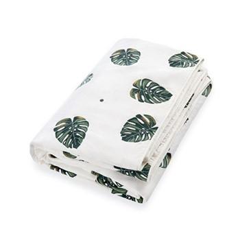 Jungle Leaf Quilt, H220 x W230cm, gold/green