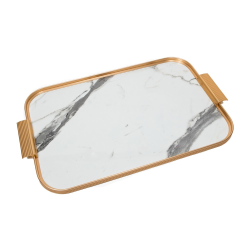 Ribbed serving tray, L46 x W30cm, white marble