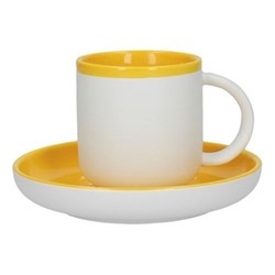 Barcelona Coffee cup and saucer, 300ml, mustard