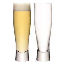 Bar Pair of lager glasses, 550ml, clear