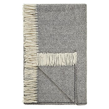 Donegal Grey Heavy herringbone wool throw, L183 x W142cm, grey