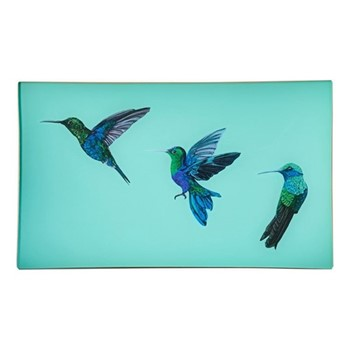 Hummingbirds Decoupage tray, 25 x 15cm, pale aqua/gold edging