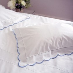 Scalloped Edge Standard pillowcase, 50 x 75cm, blue 200 thread count cotton