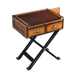 War Chest Occasional table, H65.5 x W56.5 x L40cm, honey distressed wood/brass