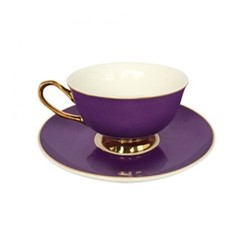 Gold rim Set of 4 teacups and saucers, H6x Dia15cm, purple
