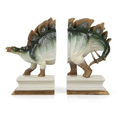 Dinosauria Pair of bookends, W30 x D16 x H25cm, natural