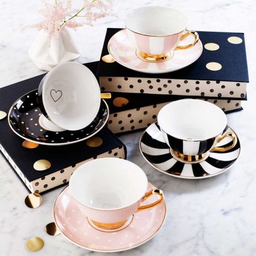 Stripy Teacup and saucer, H6x Dia15cm, Pink/White